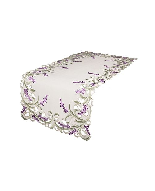 """Xia Home Fashions Lavender Lace Embroidered Cutwork Table Runner, 15"""" x 70"""""""