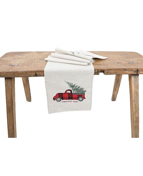 Manor Luxe Vintage Tartan Truck with Christmas Tree Table Runner