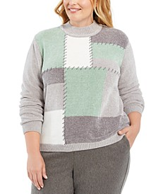 Plus Size Lake Geneva Colorblocked Chenille Sweater