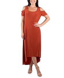 Cold-Shoulder High-Low Maxi Dress