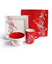 Blossom Branch Red 16 Pc Dinnerware Set