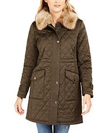 Michael Michael Kors Hooded Faux-Fur-Trim Quilted Coat