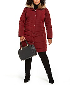 Plus Size Hooded Faux-Fur-Trim Down Puffer Coat
