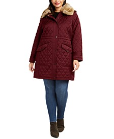 Plus Size Quilted Jacket With Removable Faux-Fur-Trim Hood