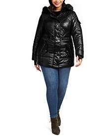 Plus Size Hooded Faux-Fur-Trim Puffer Coat
