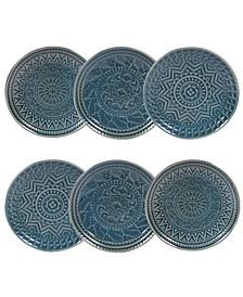 Aztec Teal 6-Pc. Canape Plates