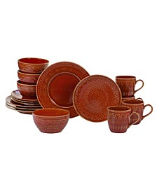 Aztec Rust 16-Pc. Dinnerware Set