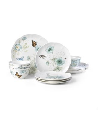 Butterfly Meadow Turquoise 12-PC Dinnerware Set, Service for 4