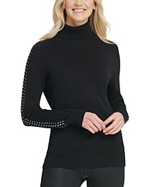 Rhinestone-Embellished Turtleneck Sweater