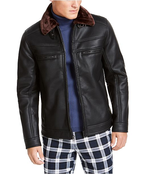 INC International Concepts INC Men's Julien Faux Leather Jacket, Created For Macy's