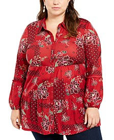 Plus Size Floral Print Tiered Blouse, Created For Macy's