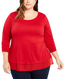 Style & Co Plus Size Chiffon-Hem Top, Created for Macy's