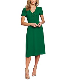Tie-Neck Flutter-Sleeve Dress