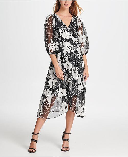 DKNY Satin Burnout Maxi Dress
