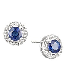 Sapphire (5/8 ct. t.w.) & Diamond Accent Stud Earrings in Sterling Silver (Also Available In Emerald and Certified Ruby)