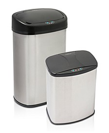 Stainless Steel Motion Sensor 2 Piece Trashcan Set