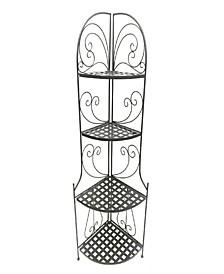 Foldable Metal Corner Bakers Rack with Grid Pattern Shelves