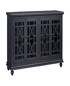 Wooden TV Stand with Trellis Detailed Doors