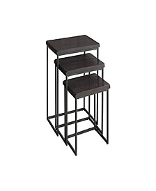 3 Piece Wood and Metal Nesting Table