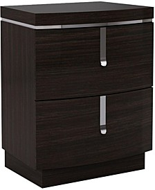 Two Drawers Wooden Nightstand with Metal Handles