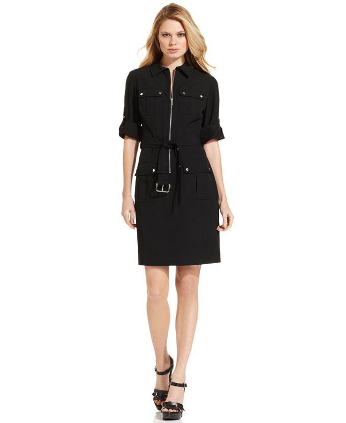 Michael Kors - Dress, Rolled Sleeve Zip Front