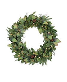 Pre-Lit Mixed Winter Pine Artificial Christmas Wreath - 30 Inch Clear Lights