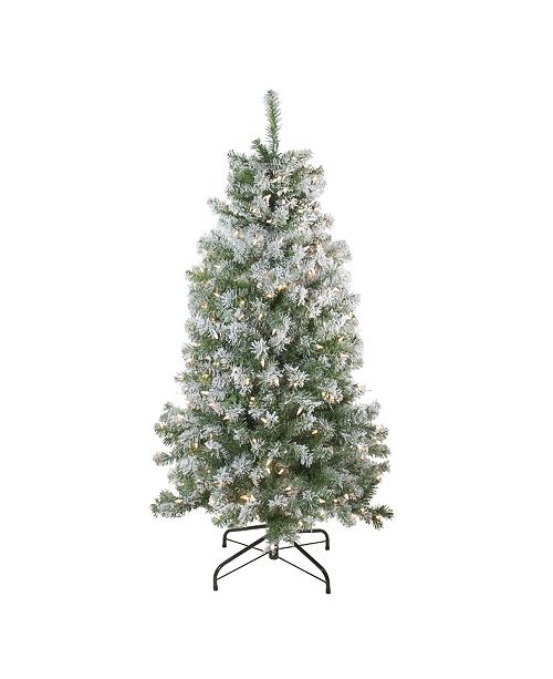 Northlight 4.5' Pre-Lit Flocked Winema Pine Artificial Christmas Tree - Clear Lights