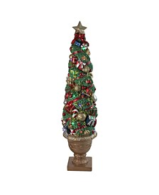 Led and Fiber Optic Lighted Christmas Topiary in Gold-Tone Pot Outdoor Decoration