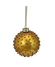 """4"""" Golden Yellow Glitter Dot Ball Christmas Ornament"""