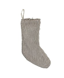 """17.5"""" Beige Taupe Faux Fur Christmas Stocking with Suede Backing"""