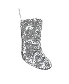 """17.5"""" Silver Paillette Sequins Christmas Stocking"""