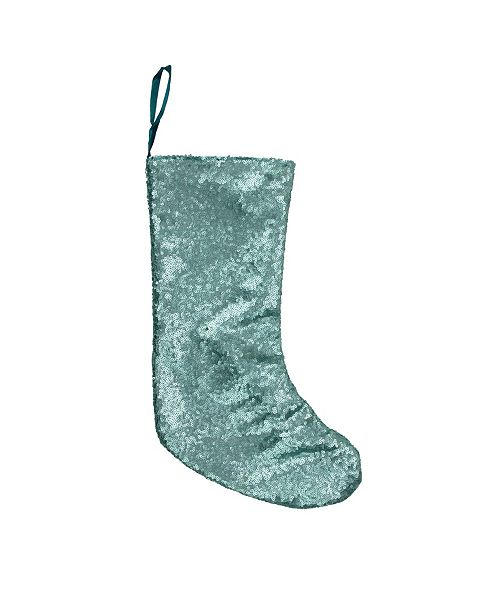 "Northlight 17.5"" Mint Green Paillette Sequins Hanging Christmas Stocking"