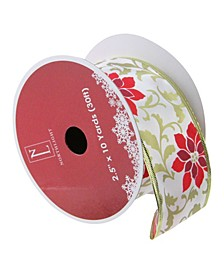 """Red Poinsettia Print Gold Wired Christmas Craft Ribbon 2.5"""" x 10 Yards"""