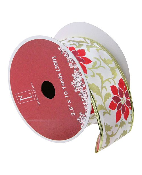 "Northlight Red Poinsettia Print Gold Wired Christmas Craft Ribbon 2.5"" x 10 Yards"