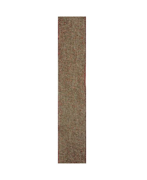 "Northlight 2.5"" Beige Burlap and Red Trim Wired Christmas Craft Ribbon"