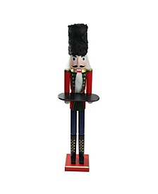 """48.25"""" Wooden Red Christmas Butler Nutcracker with Tray"""