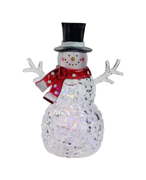 """Northlight 8.5"""" Battery Operated LED Lighted Snowman with Scarf and Top Hat"""