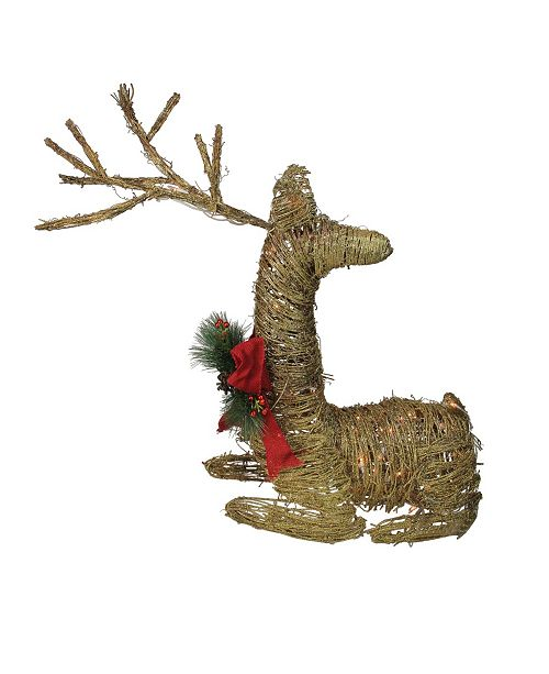 """Northlight 30"""" Lighted Rattan Reindeer with Red Bow and Pine Cones Christmas Outdoor Decoration"""