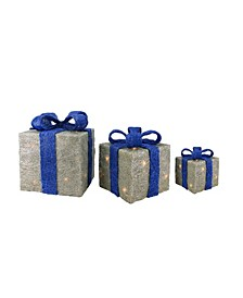 Set of 3 Lighted Silver with Blue Bows Sisal Gift Boxes Christmas Outdoor Decorations