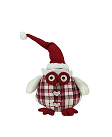 """12"""" Chubby Red and White Plaid Owl with Santa Hat and Heart Buttons Table Top Christmas Figure"""