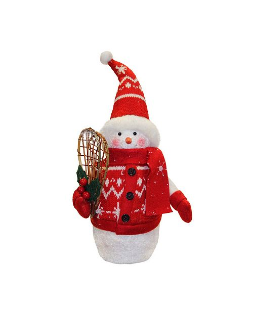 Northlight Alpine Chic and Sparkling Snowman with Snowshoes Christmas Decoration