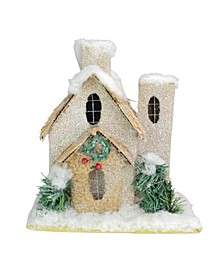"9.25"" Snow Covered House with Shrubs Christmas Tabletop Decoration"