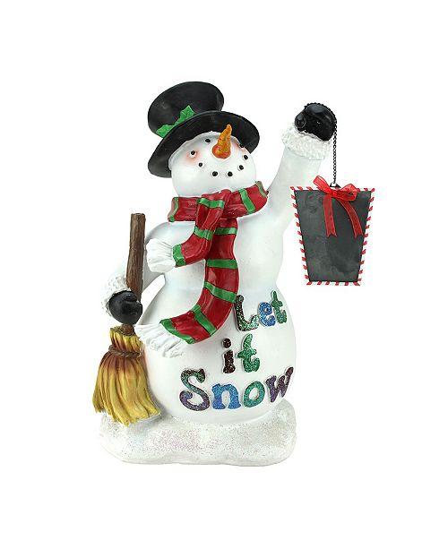 "Northlight 18"" Festive Snowman Holding Broom and Blackboard Christmas Countdown Figure"