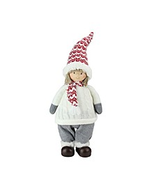 """19.5"""" Ivory Red and Gray Cheerful Young Boy Gnome Christmas Decoration"""