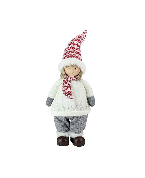 "Northlight 19.5"" Ivory Red and Gray Cheerful Young Boy Gnome Christmas Decoration"