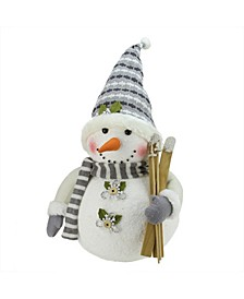 "20"" Alpine Chic Snowman with Skis and Snowflake Buttons Christmas Decoration"