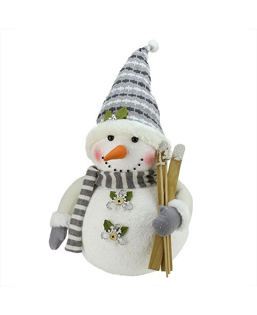 """Northlight 20"""" Alpine Chic Snowman with Skis and Snowflake Buttons Christmas Decoration"""