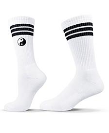Unisex Yin Yang Stylish Embroidered Crew Socks