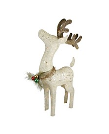 "37"" Lighted Sparkling Sisal Standing Reindeer Outdoor Christmas Decoration"