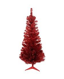 4' Red Tinsel Medium Artificial Christmas Tree - Unlit